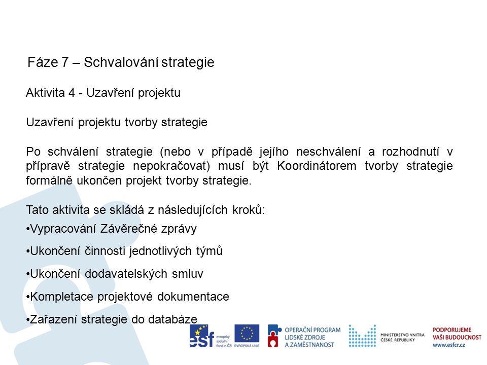 Fáze 7 – Schvalování strategie 62 Aktivita 4 - Uzavření projektu Uzavření projektu tvorby strategie Po schválení strategie (nebo v případě jejího neschválení a rozhodnutí v přípravě strategie nepokračovat) musí být Koordinátorem tvorby strategie formálně ukončen projekt tvorby strategie.
