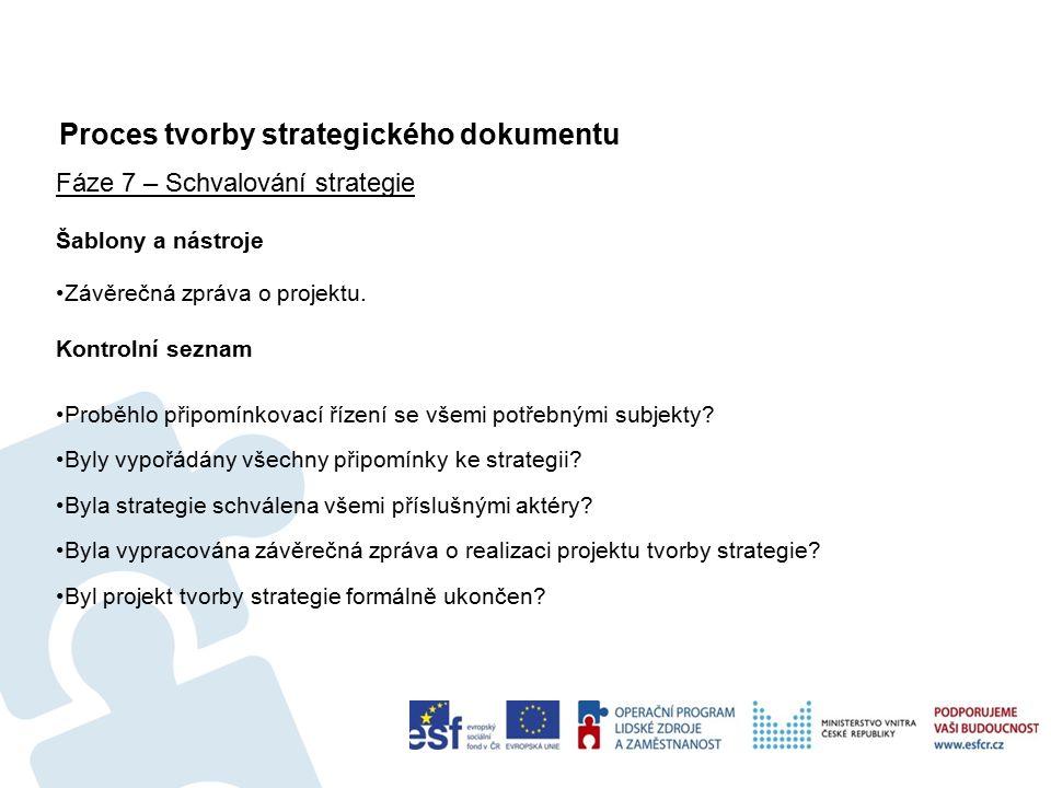 Proces tvorby strategického dokumentu 66 Fáze 7 – Schvalování strategie Šablony a nástroje Závěrečná zpráva o projektu.