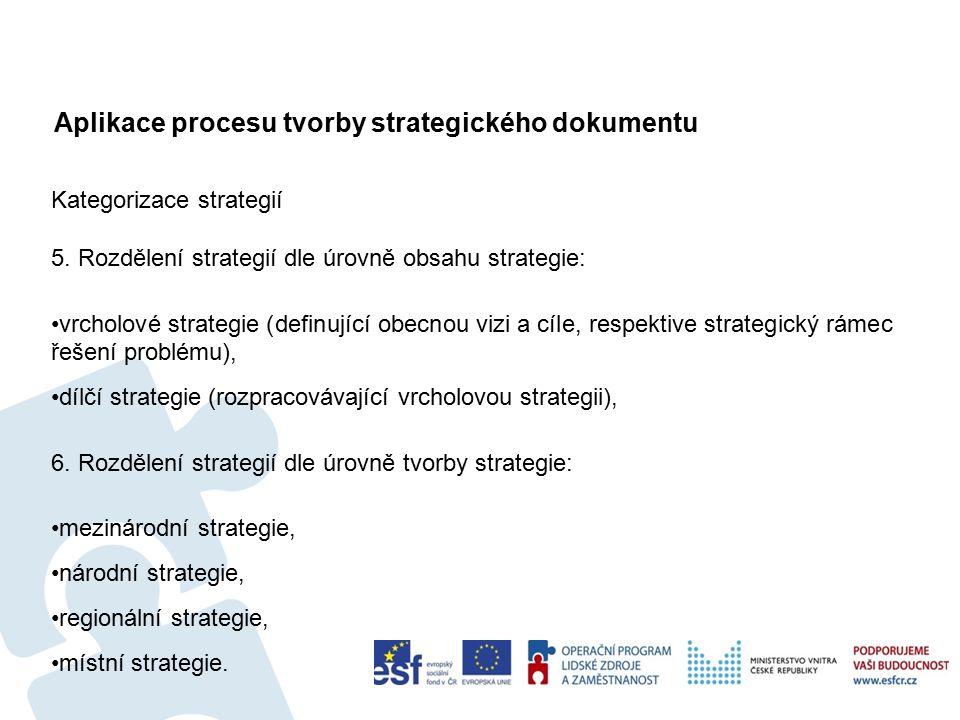 Aplikace procesu tvorby strategického dokumentu 73 Kategorizace strategií 5.