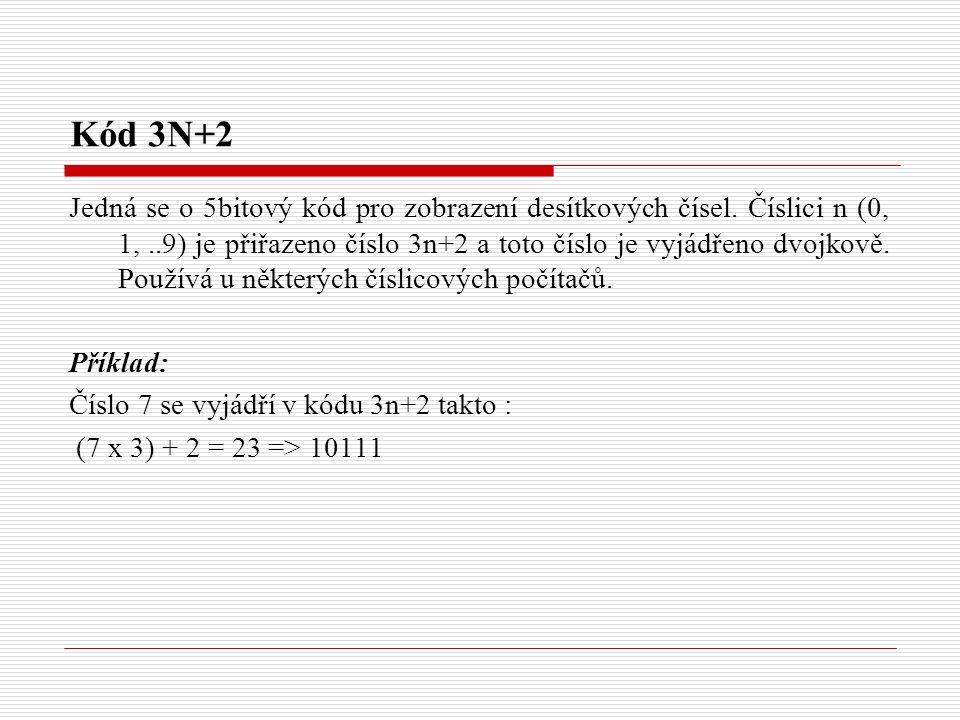 Kód 3N+2 Jedná se o 5bitový kód pro zobrazení desítkových čísel.