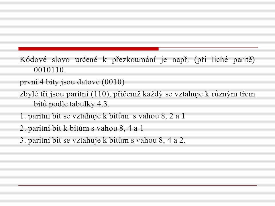 Kódové slovo určené k přezkoumání je např. (při liché paritě) 0010110.
