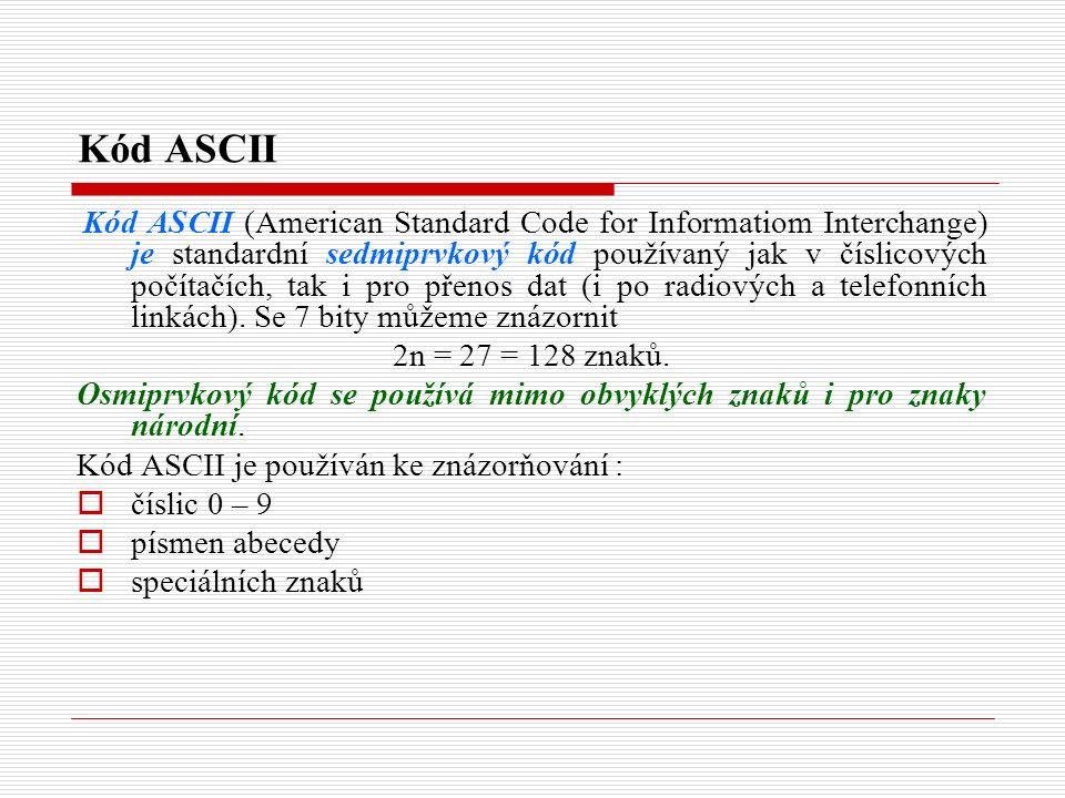 Kód ASCII Kód ASCII (American Standard Code for Informatiom Interchange) je standardní sedmiprvkový kód používaný jak v číslicových počítačích, tak i pro přenos dat (i po radiových a telefonních linkách).