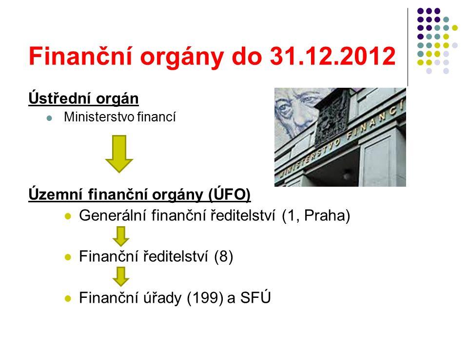 Finanční orgány do 31.12.2012 Ústřední orgán Ministerstvo financí Územní finanční orgány (ÚFO) Generální finanční ředitelství (1, Praha) Finanční ředitelství (8) Finanční úřady (199) a SFÚ