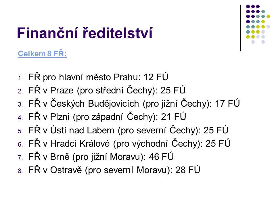 Finanční ředitelství Celkem 8 FŘ: 1. FŘ pro hlavní město Prahu: 12 FÚ 2. FŘ v Praze (pro střední Čechy): 25 FÚ 3. FŘ v Českých Budějovicích (pro jižní