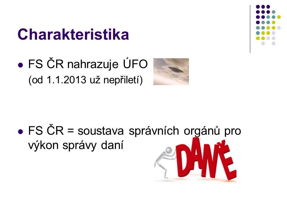 Charakteristika FS ČR nahrazuje ÚFO (od 1.1.2013 už nepřiletí) FS ČR = soustava správních orgánů pro výkon správy daní