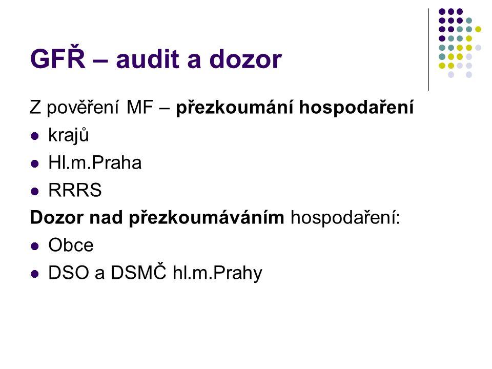 GFŘ – audit a dozor Z pověření MF – přezkoumání hospodaření krajů Hl.m.Praha RRRS Dozor nad přezkoumáváním hospodaření: Obce DSO a DSMČ hl.m.Prahy