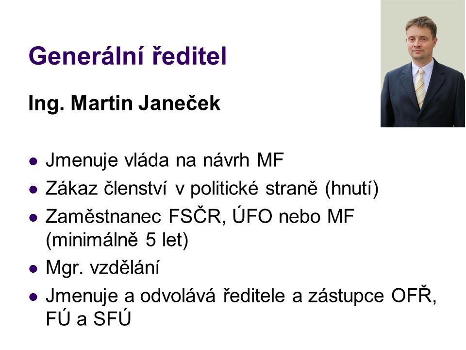 Generální ředitel Ing. Martin Janeček Jmenuje vláda na návrh MF Zákaz členství v politické straně (hnutí) Zaměstnanec FSČR, ÚFO nebo MF (minimálně 5 l