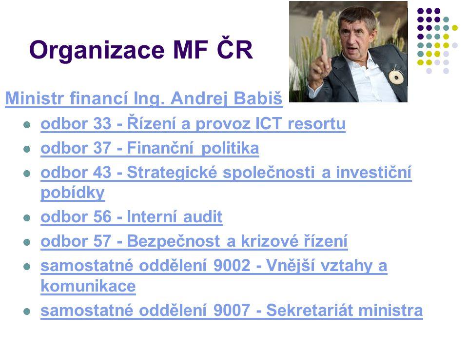 Organizace MF ČR Ministr financí Ing.