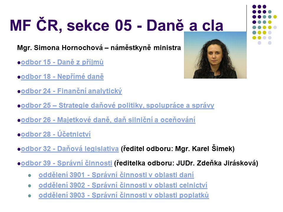 MF ČR, sekce 05 - Daně a cla Mgr.