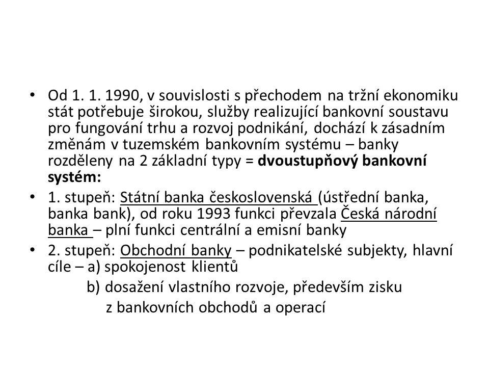 Od 1. 1. 1990, v souvislosti s přechodem na tržní ekonomiku stát potřebuje širokou, služby realizující bankovní soustavu pro fungování trhu a rozvoj p