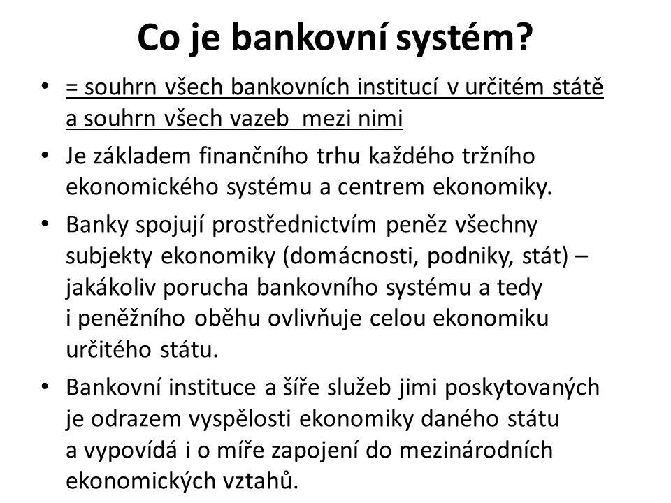 Co je bankovní systém? = souhrn všech bankovních institucí v určitém státě a souhrn všech vazeb mezi nimi Je základem finančního trhu každého tržního