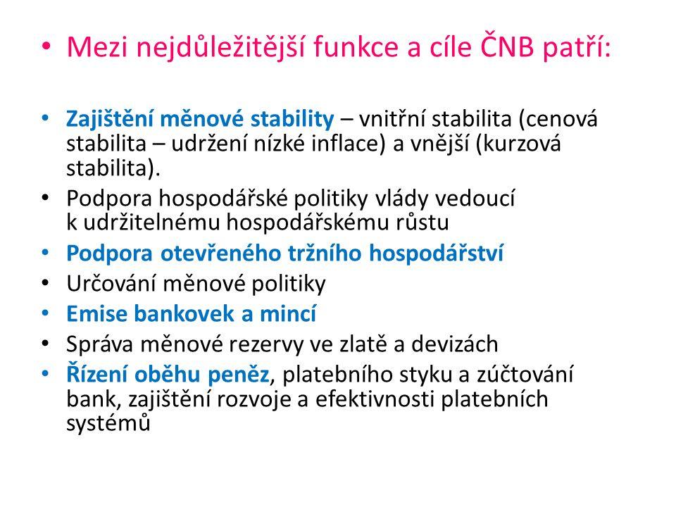 Mezi nejdůležitější funkce a cíle ČNB patří: Zajištění měnové stability – vnitřní stabilita (cenová stabilita – udržení nízké inflace) a vnější (kurzová stabilita).