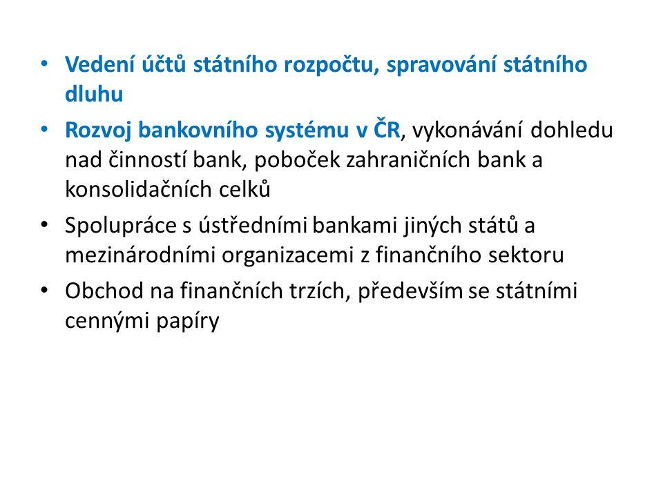 Vedení účtů státního rozpočtu, spravování státního dluhu Rozvoj bankovního systému v ČR, vykonávání dohledu nad činností bank, poboček zahraničních bank a konsolidačních celků Spolupráce s ústředními bankami jiných států a mezinárodními organizacemi z finančního sektoru Obchod na finančních trzích, především se státními cennými papíry