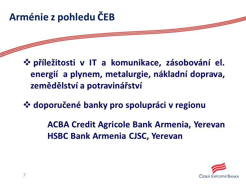 Arménie z pohledu ČEB  příležitosti v IT a komunikace, zásobování el.