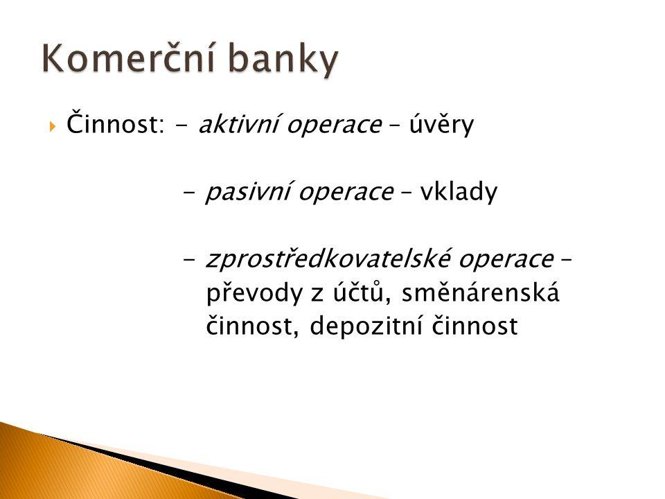  Činnost: - aktivní operace – úvěry - pasivní operace – vklady - zprostředkovatelské operace – převody z účtů, směnárenská činnost, depozitní činnost