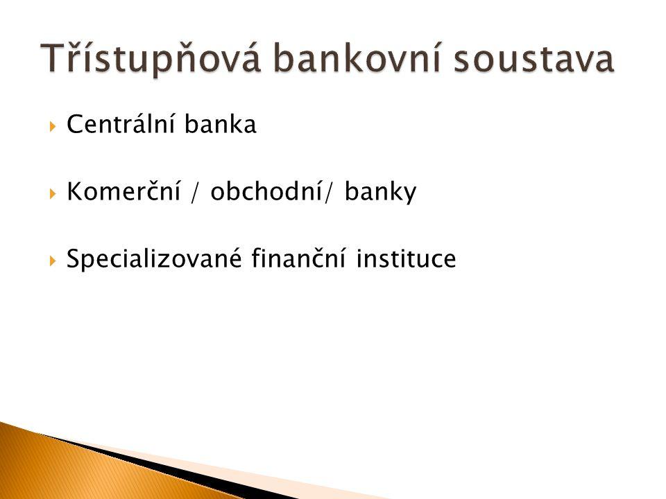  Centrální banka  Komerční / obchodní/ banky  Specializované finanční instituce
