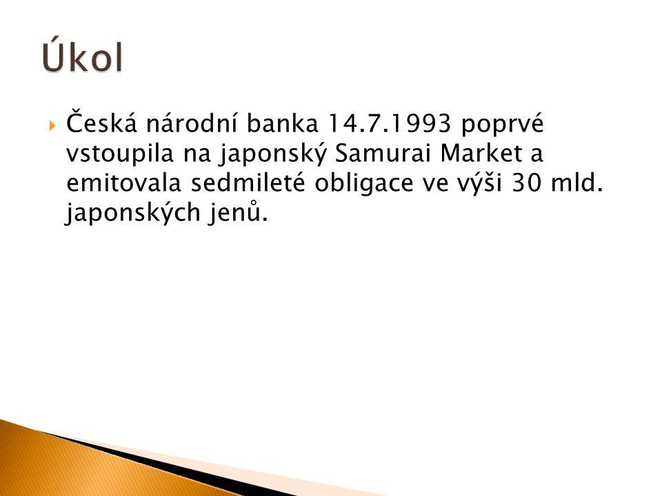 Česká národní banka 14.7.1993 poprvé vstoupila na japonský Samurai Market a emitovala sedmileté obligace ve výši 30 mld.