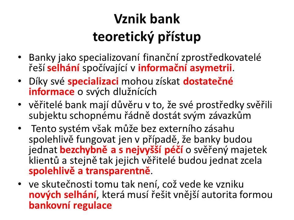 Vznik bank teoretický přístup Banky jako specializovaní finanční zprostředkovatelé řeší selhání spočívající v informační asymetrii.