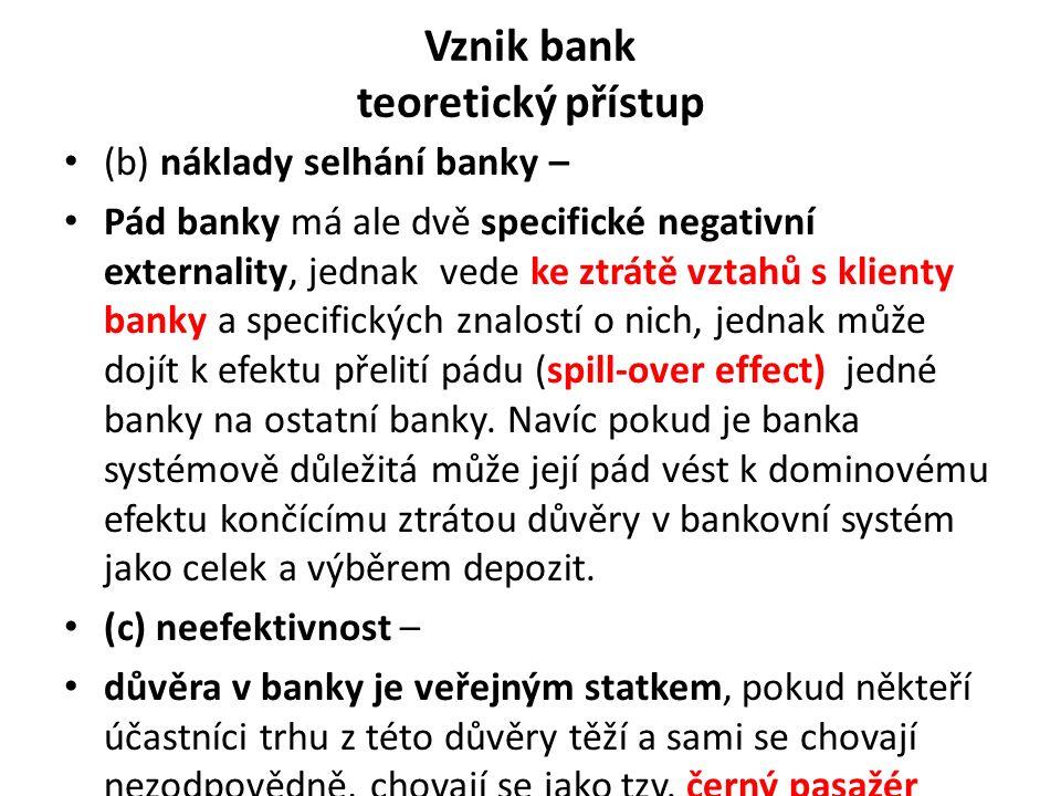 Vznik bank teoretický přístup (b) náklady selhání banky – Pád banky má ale dvě specifické negativní externality, jednak vede ke ztrátě vztahů s klienty banky a specifických znalostí o nich, jednak může dojít k efektu přelití pádu (spill-over effect) jedné banky na ostatní banky.