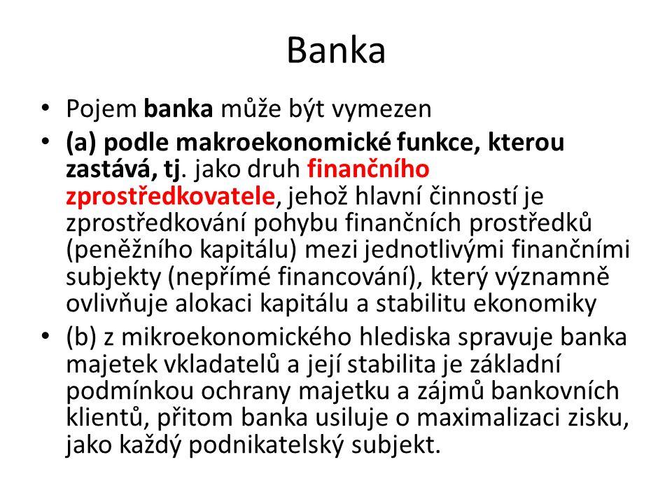 Banka Pojem banka může být vymezen (a) podle makroekonomické funkce, kterou zastává, tj.