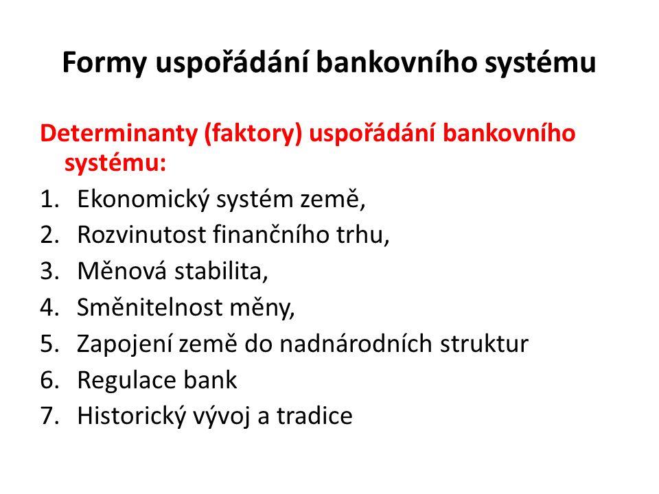 Formy uspořádání bankovního systému Determinanty (faktory) uspořádání bankovního systému: 1.Ekonomický systém země, 2.Rozvinutost finančního trhu, 3.Měnová stabilita, 4.Směnitelnost měny, 5.Zapojení země do nadnárodních struktur 6.Regulace bank 7.Historický vývoj a tradice