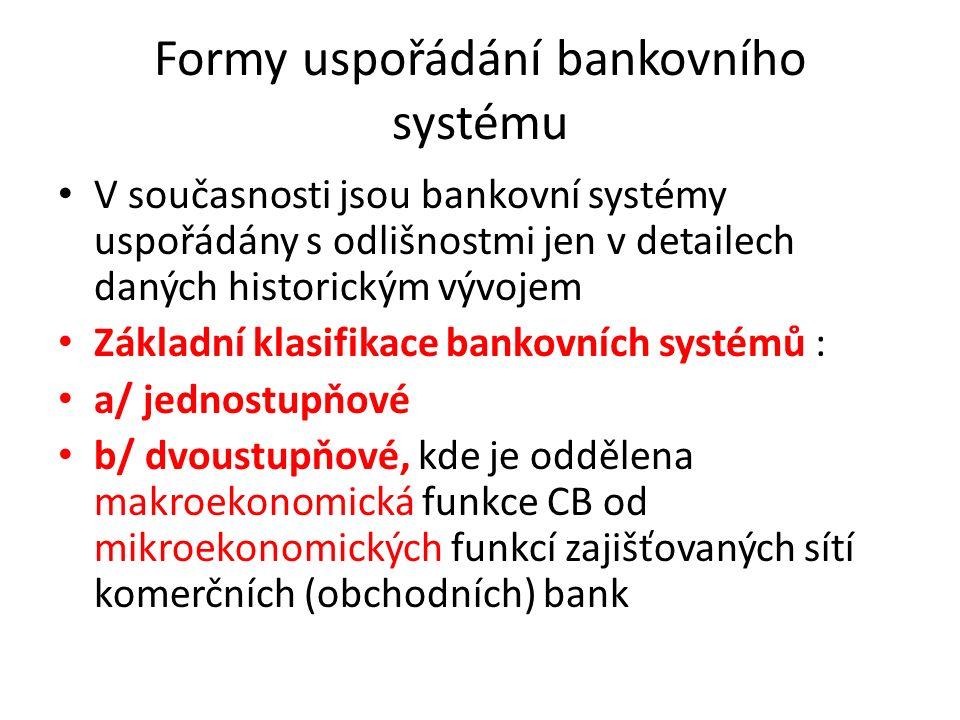 Formy uspořádání bankovního systému V současnosti jsou bankovní systémy uspořádány s odlišnostmi jen v detailech daných historickým vývojem Základní klasifikace bankovních systémů : a/ jednostupňové b/ dvoustupňové, kde je oddělena makroekonomická funkce CB od mikroekonomických funkcí zajišťovaných sítí komerčních (obchodních) bank
