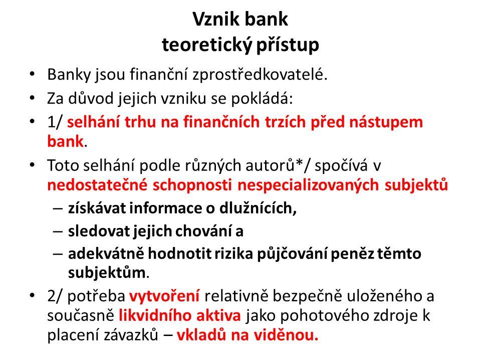 Vznik bank teoretický přístup Banky jsou finanční zprostředkovatelé.