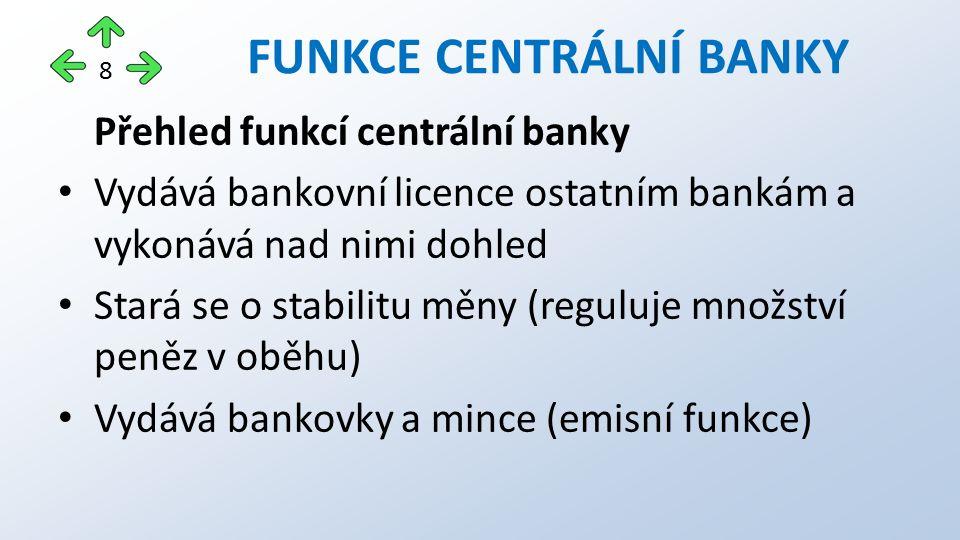 Přehled funkcí centrální banky Vydává bankovní licence ostatním bankám a vykonává nad nimi dohled Stará se o stabilitu měny (reguluje množství peněz v