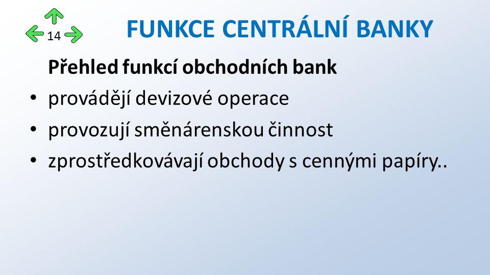 Přehled funkcí obchodních bank provádějí devizové operace provozují směnárenskou činnost zprostředkovávají obchody s cennými papíry.. FUNKCE CENTRÁLNÍ