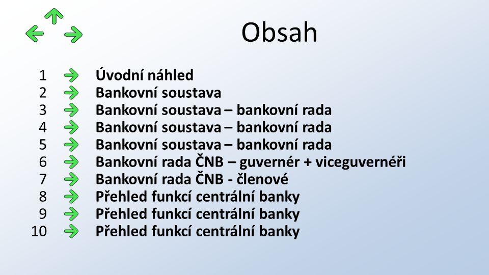 Obsah Úvodní náhled1 Bankovní soustava2 Bankovní soustava – bankovní rada3 4 5 Bankovní rada ČNB – guvernér + viceguvernéři6 Bankovní rada ČNB - členo