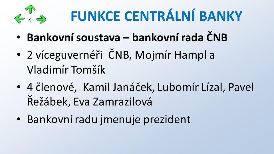 Bankovní soustava – bankovní rada ČNB 2 víceguvernéři ČNB, Mojmír Hampl a Vladimír Tomšík 4 členové, Kamil Janáček, Lubomír Lízal, Pavel Řežábek, Eva