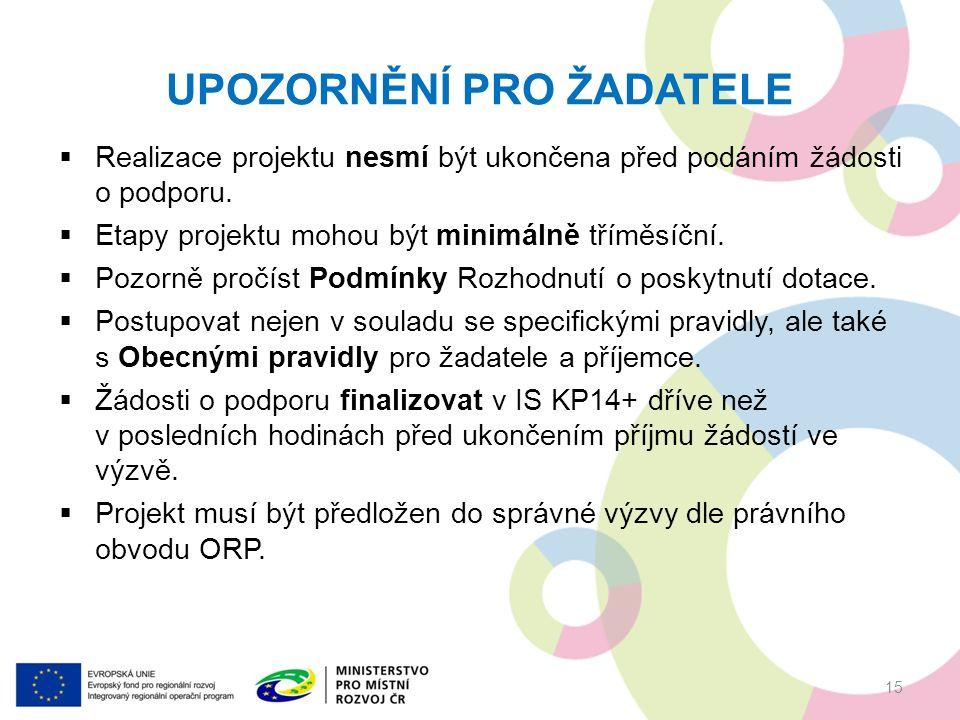 UPOZORNĚNÍ PRO ŽADATELE  Realizace projektu nesmí být ukončena před podáním žádosti o podporu.