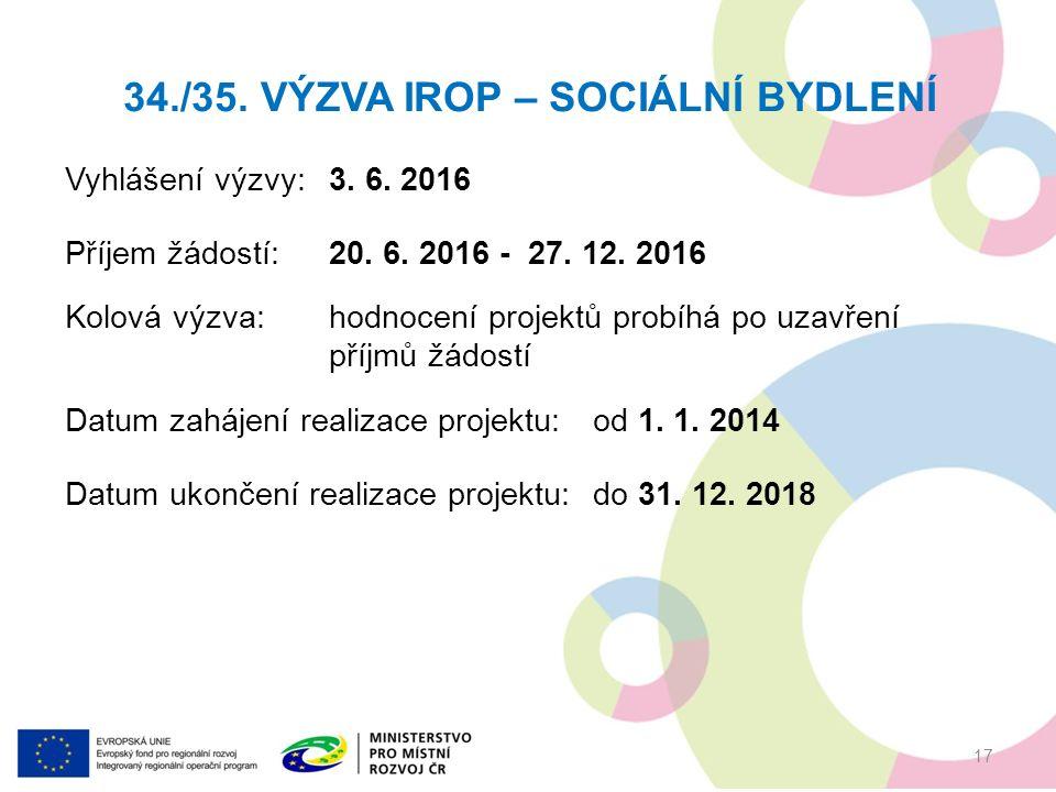 Vyhlášení výzvy:3. 6. 2016 Příjem žádostí: 20. 6.