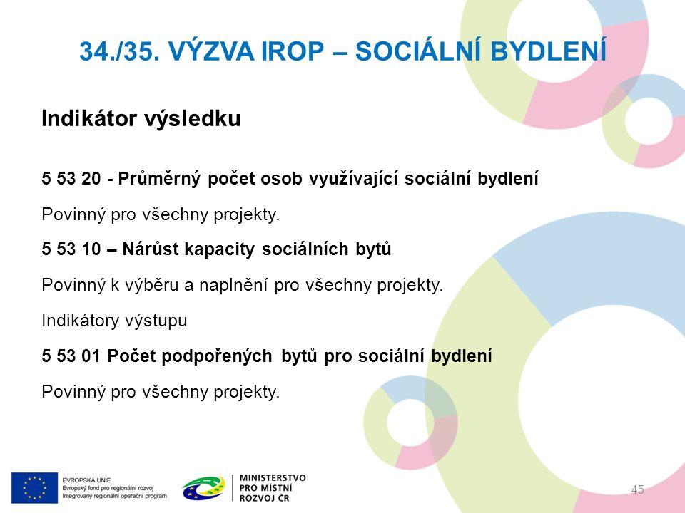 Indikátor výsledku 5 53 20 - Průměrný počet osob využívající sociální bydlení Povinný pro všechny projekty.