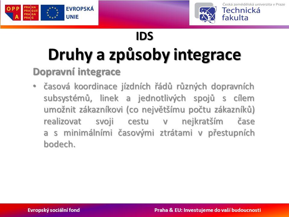 Evropský sociální fond Praha & EU: Investujeme do vaší budoucnosti IDS Druhy a způsoby integrace Dopravní integrace časová koordinace jízdních řádů různých dopravních subsystémů, linek a jednotlivých spojů s cílem umožnit zákazníkovi (co největšímu počtu zákazníků) realizovat svoji cestu v nejkratším čase a s minimálními časovými ztrátami v přestupních bodech.