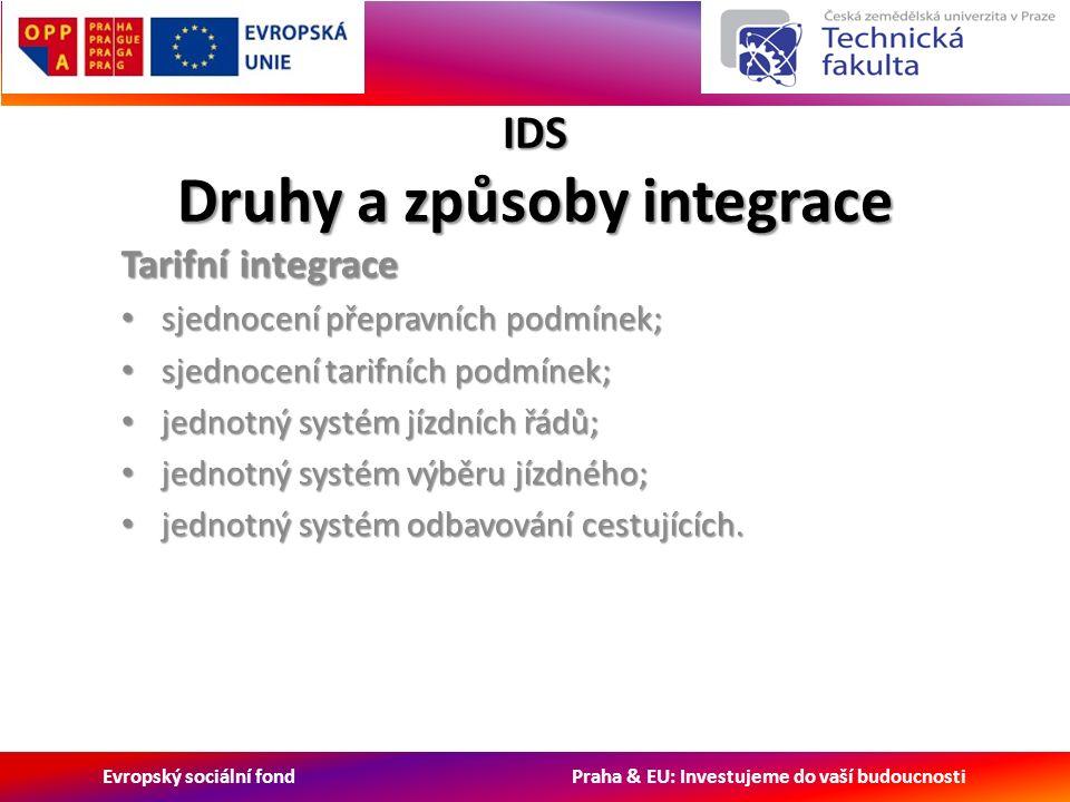 Evropský sociální fond Praha & EU: Investujeme do vaší budoucnosti IDS Druhy a způsoby integrace Tarifní integrace sjednocení přepravních podmínek; sjednocení přepravních podmínek; sjednocení tarifních podmínek; sjednocení tarifních podmínek; jednotný systém jízdních řádů; jednotný systém jízdních řádů; jednotný systém výběru jízdného; jednotný systém výběru jízdného; jednotný systém odbavování cestujících.