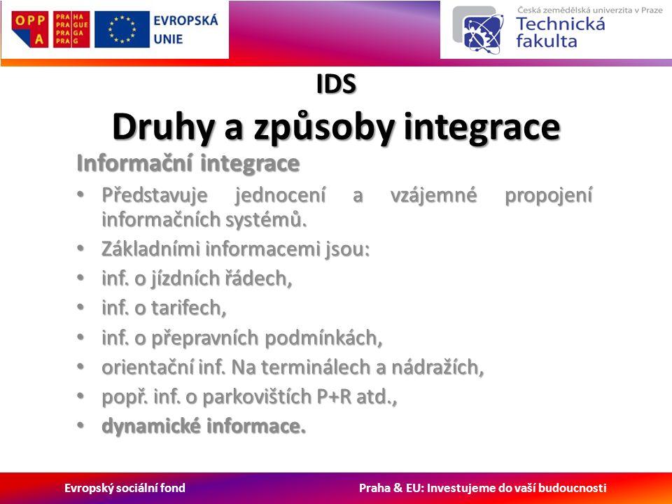 Evropský sociální fond Praha & EU: Investujeme do vaší budoucnosti IDS Druhy a způsoby integrace Informační integrace Představuje jednocení a vzájemné propojení informačních systémů.