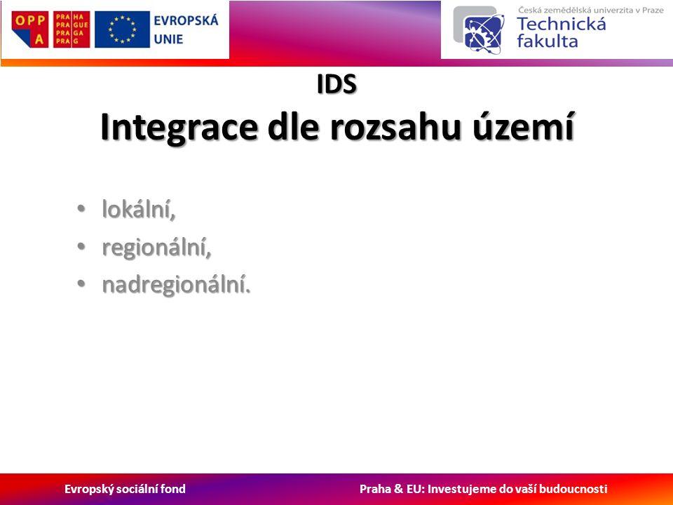 Evropský sociální fond Praha & EU: Investujeme do vaší budoucnosti IDS Integrace dle rozsahu území lokální, lokální, regionální, regionální, nadregionální.