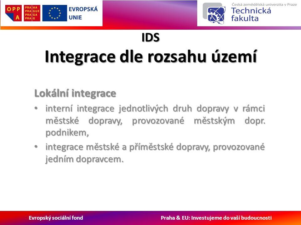 Evropský sociální fond Praha & EU: Investujeme do vaší budoucnosti IDS Integrace dle rozsahu území Lokální integrace interní integrace jednotlivých druh dopravy v rámci městské dopravy, provozované městským dopr.