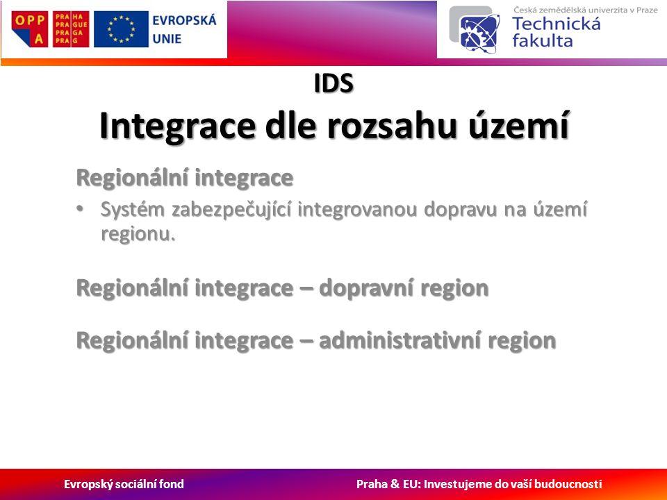 Evropský sociální fond Praha & EU: Investujeme do vaší budoucnosti IDS Integrace dle rozsahu území Regionální integrace Systém zabezpečující integrovanou dopravu na území regionu.