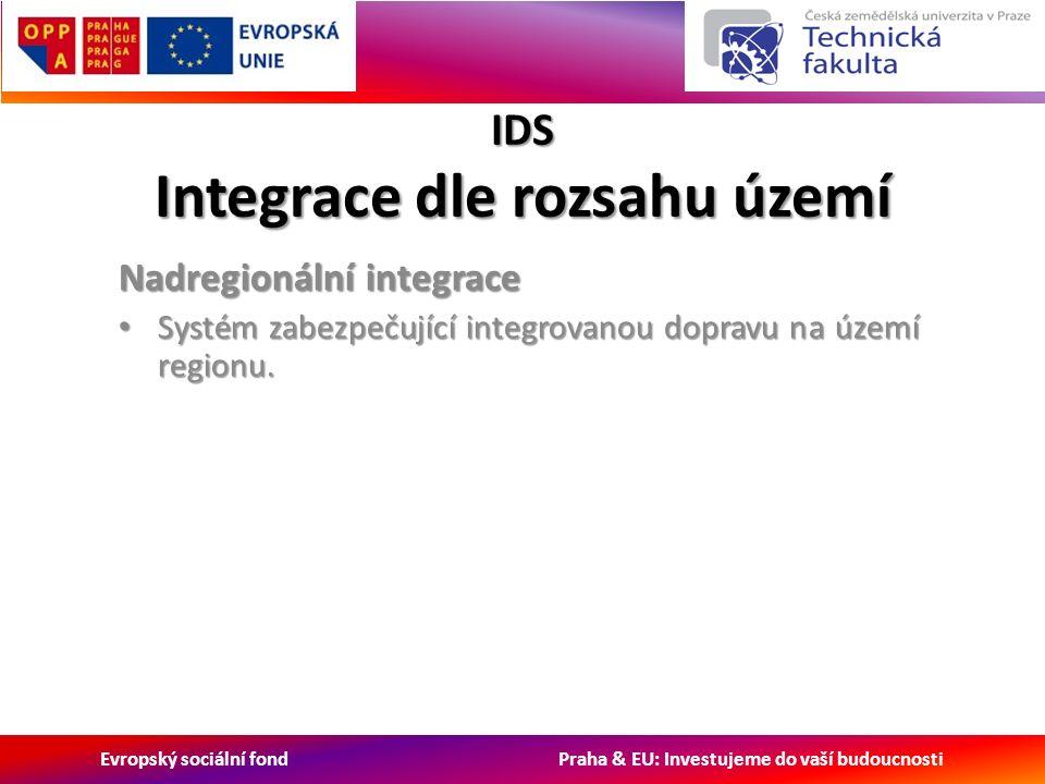 Evropský sociální fond Praha & EU: Investujeme do vaší budoucnosti IDS Integrace dle rozsahu území Nadregionální integrace Systém zabezpečující integrovanou dopravu na území regionu.