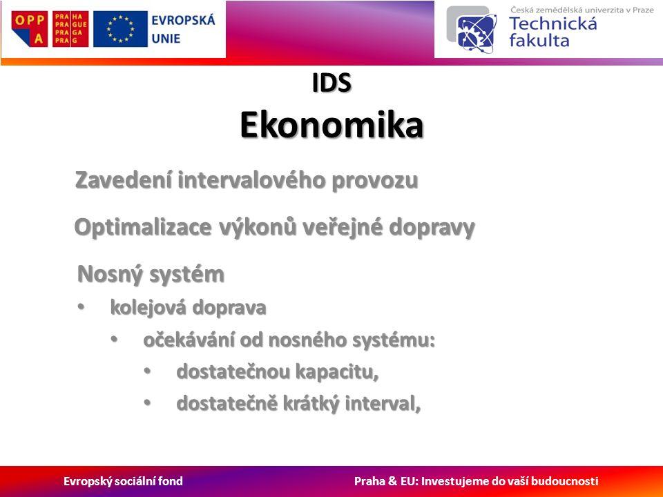 Evropský sociální fond Praha & EU: Investujeme do vaší budoucnosti IDS Ekonomika Zavedení intervalového provozu Nosný systém kolejová doprava kolejová doprava očekávání od nosného systému: očekávání od nosného systému: dostatečnou kapacitu, dostatečnou kapacitu, dostatečně krátký interval, dostatečně krátký interval, Optimalizace výkonů veřejné dopravy