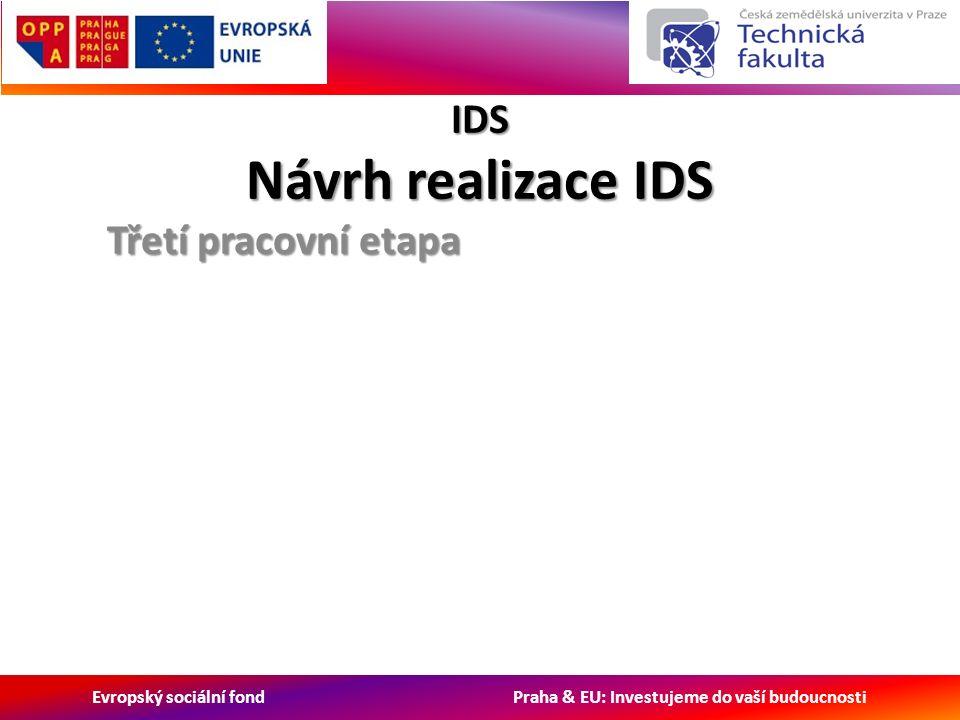 Evropský sociální fond Praha & EU: Investujeme do vaší budoucnosti IDS Návrh realizace IDS Třetí pracovní etapa