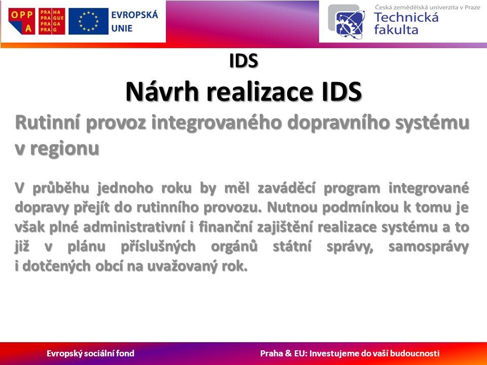 Evropský sociální fond Praha & EU: Investujeme do vaší budoucnosti IDS Návrh realizace IDS Rutinní provoz integrovaného dopravního systému v regionu V průběhu jednoho roku by měl zaváděcí program integrované dopravy přejít do rutinního provozu.