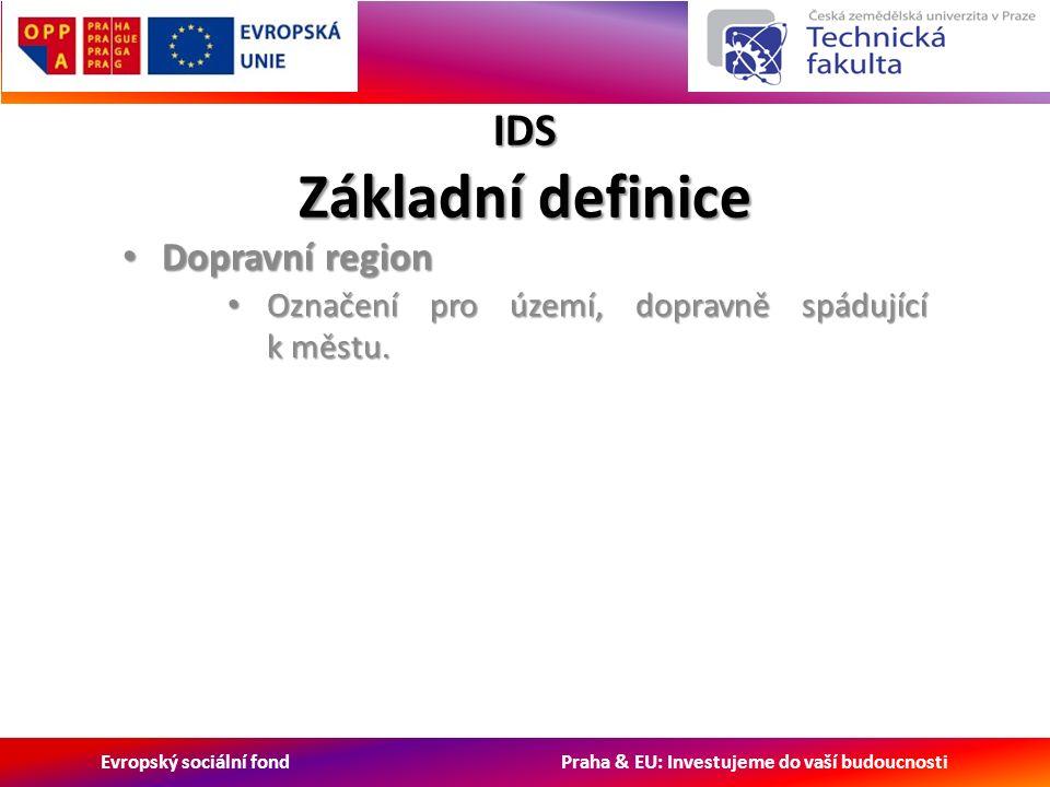 Evropský sociální fond Praha & EU: Investujeme do vaší budoucnosti IDS Základní definice Dopravní region Dopravní region Označení pro území, dopravně spádující k městu.