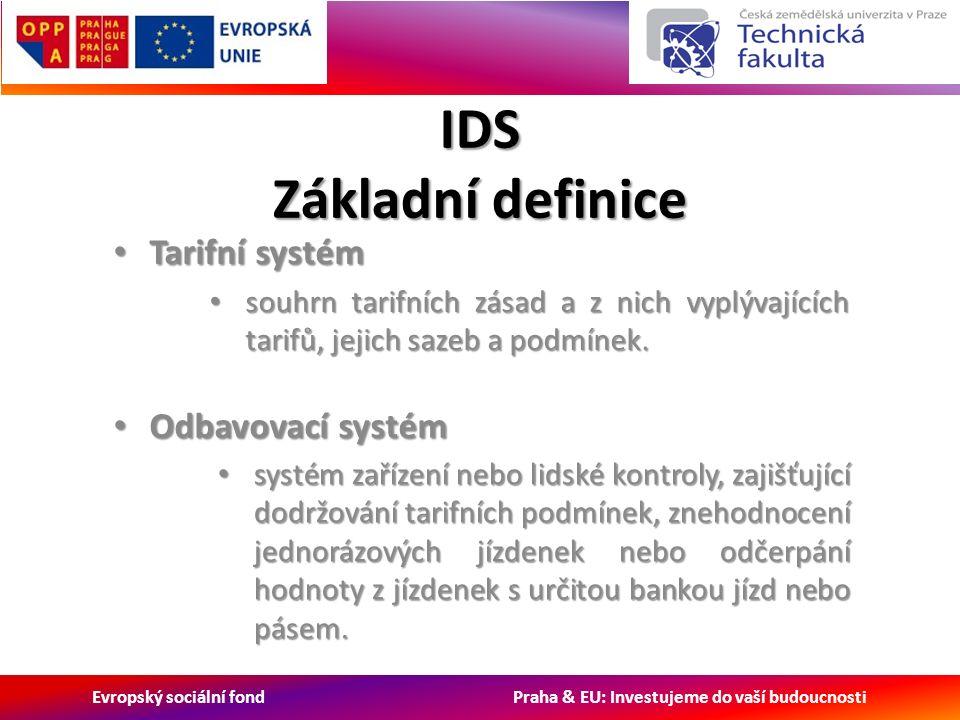 Evropský sociální fond Praha & EU: Investujeme do vaší budoucnosti IDS Základní definice Tarifní systém Tarifní systém souhrn tarifních zásad a z nich vyplývajících tarifů, jejich sazeb a podmínek.