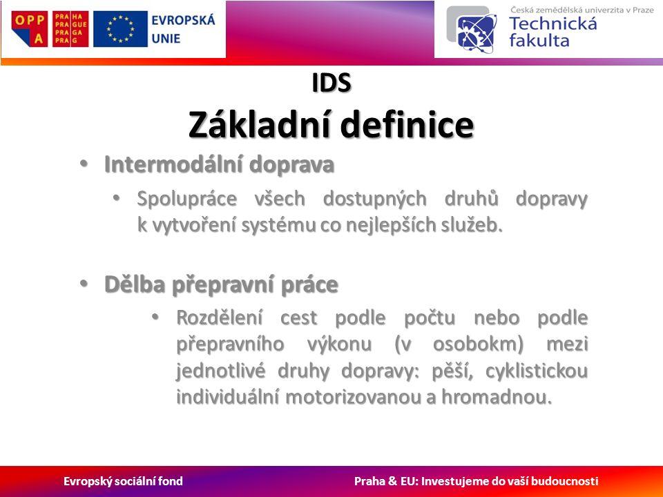 Evropský sociální fond Praha & EU: Investujeme do vaší budoucnosti IDS Základní definice Intermodální doprava Intermodální doprava Spolupráce všech dostupných druhů dopravy k vytvoření systému co nejlepších služeb.