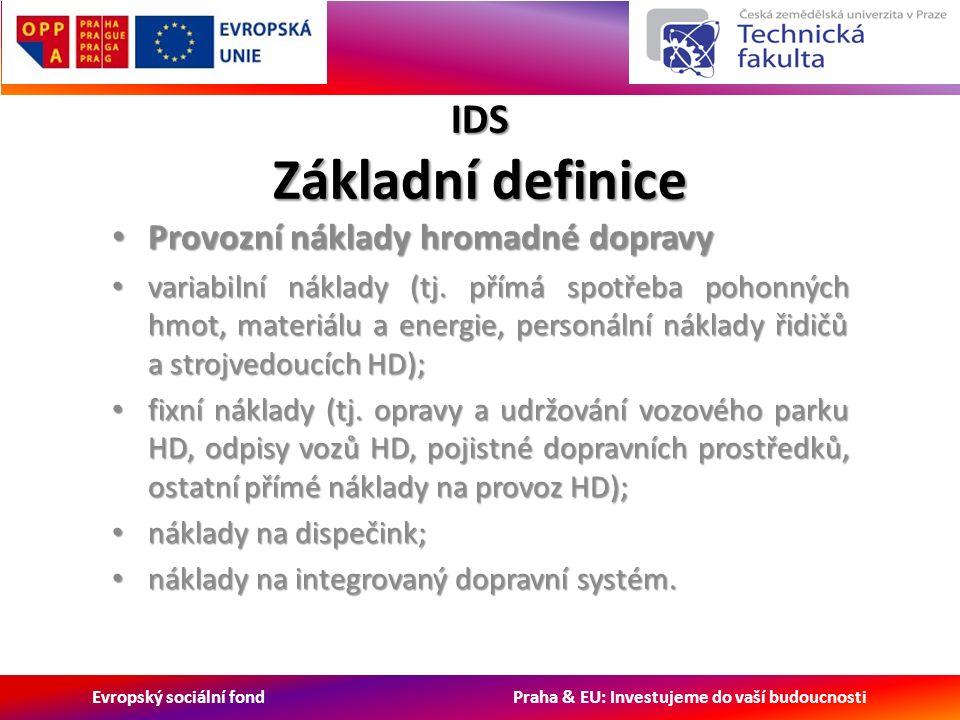 Evropský sociální fond Praha & EU: Investujeme do vaší budoucnosti IDS Základní definice Provozní náklady hromadné dopravy Provozní náklady hromadné dopravy variabilní náklady (tj.