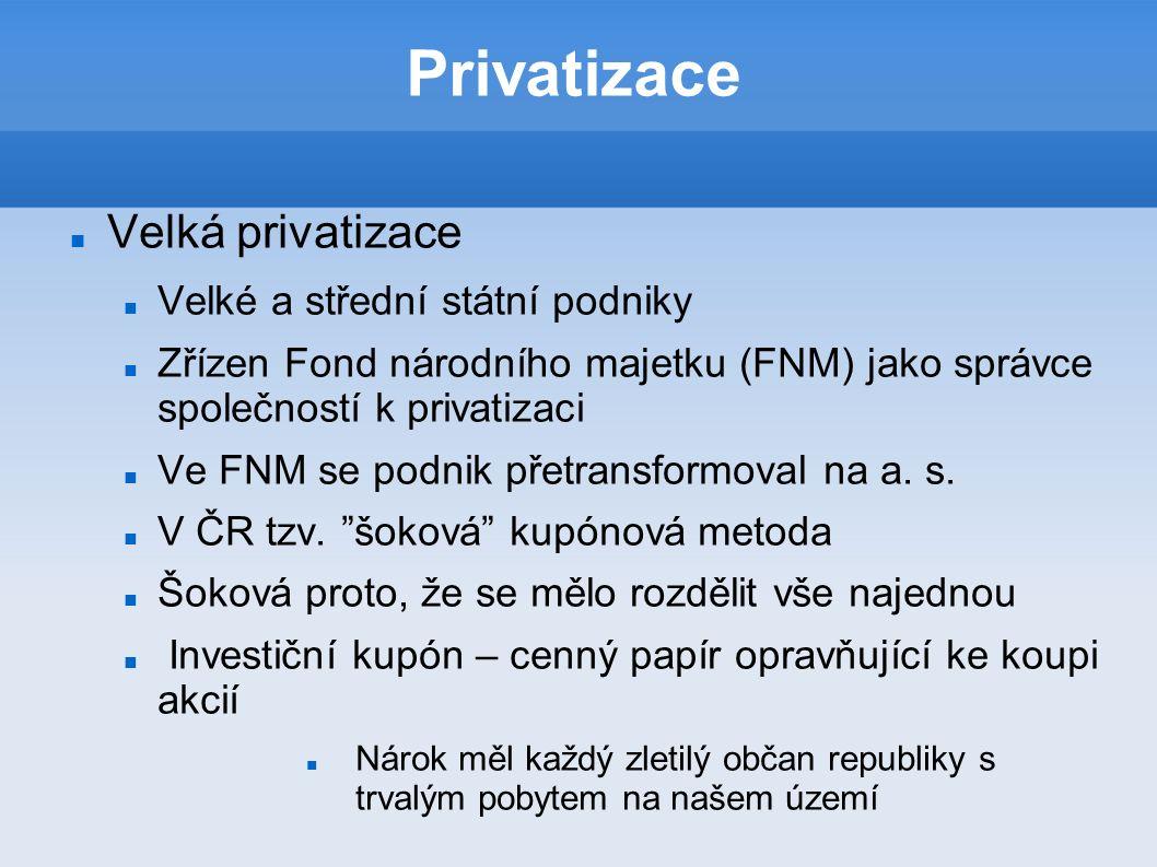 Privatizace Velká privatizace Velké a střední státní podniky Zřízen Fond národního majetku (FNM) jako správce společností k privatizaci Ve FNM se podnik přetransformoval na a.