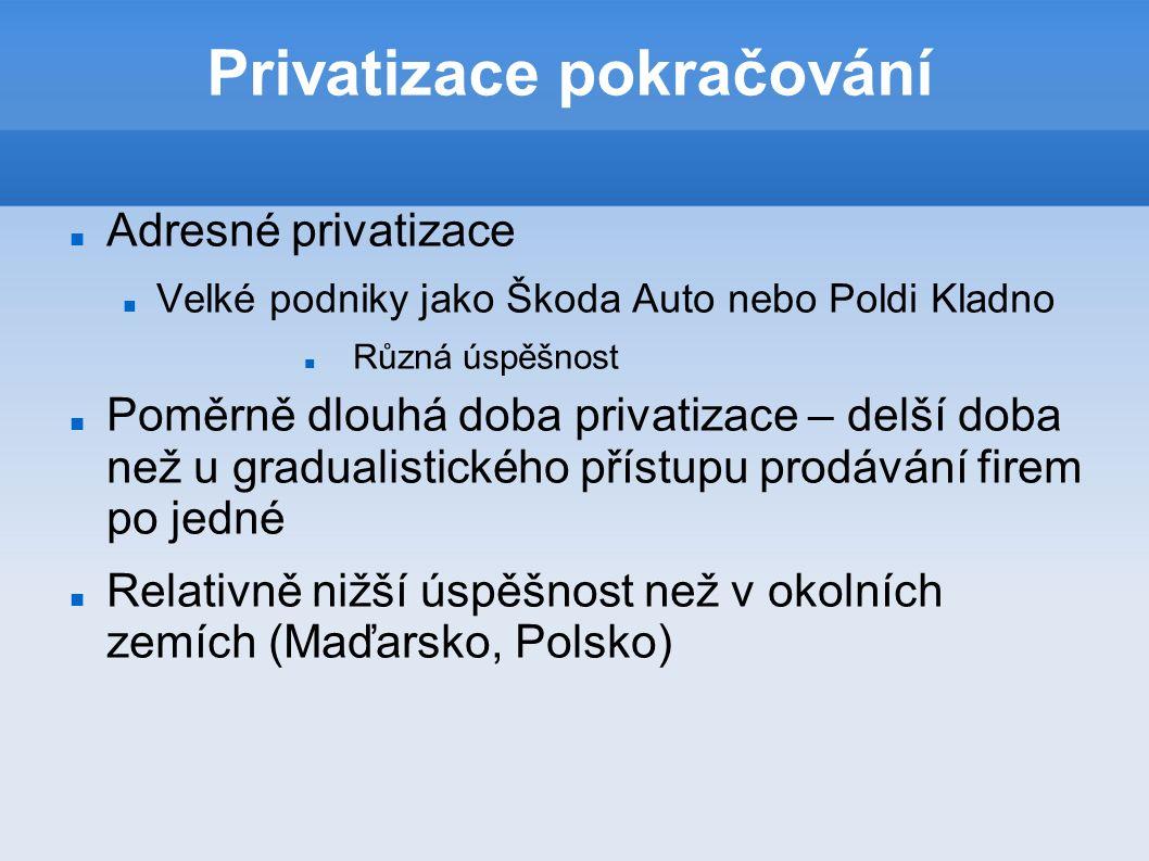 Privatizace pokračování Adresné privatizace Velké podniky jako Škoda Auto nebo Poldi Kladno Různá úspěšnost Poměrně dlouhá doba privatizace – delší doba než u gradualistického přístupu prodávání firem po jedné Relativně nižší úspěšnost než v okolních zemích (Maďarsko, Polsko)